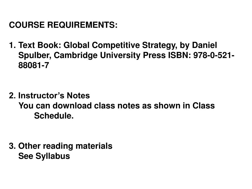 COURSE REQUIREMENTS: