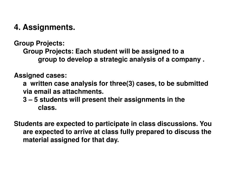 4. Assignments.
