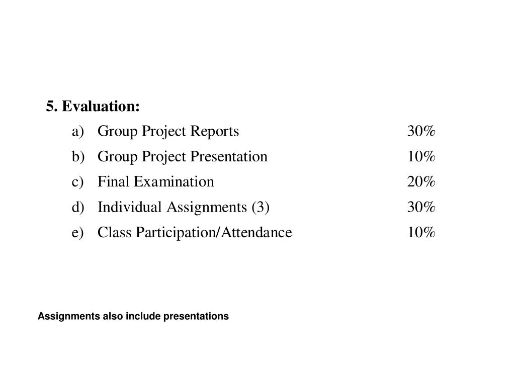 Assignments also include presentations