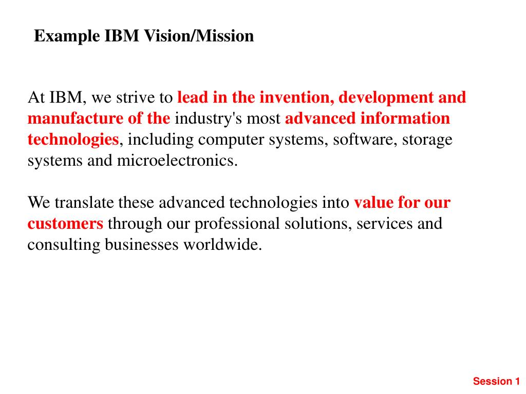 Example IBM Vision/Mission