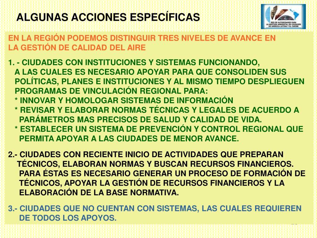 ALGUNAS ACCIONES ESPECÍFICAS