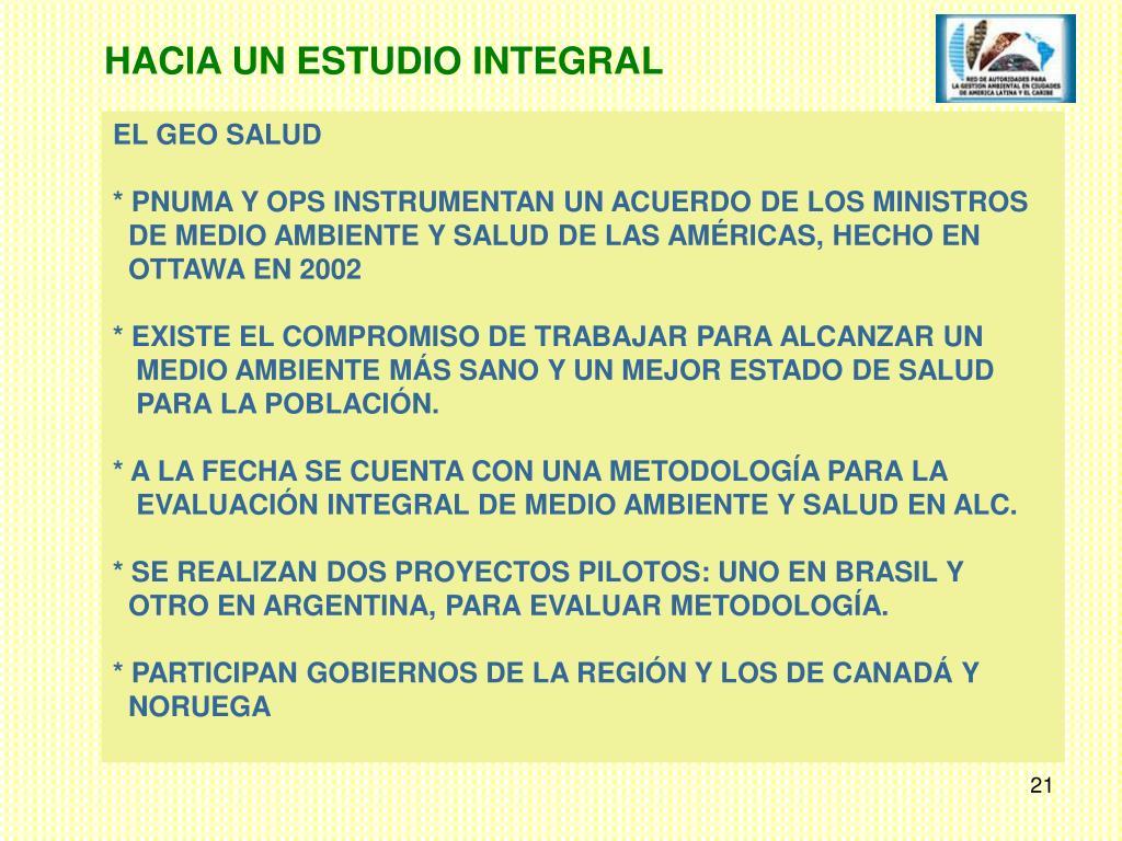 HACIA UN ESTUDIO INTEGRAL