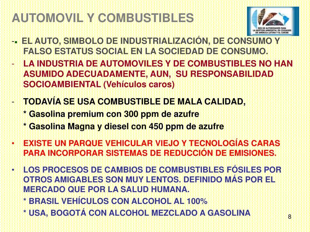 AUTOMOVIL Y COMBUSTIBLES
