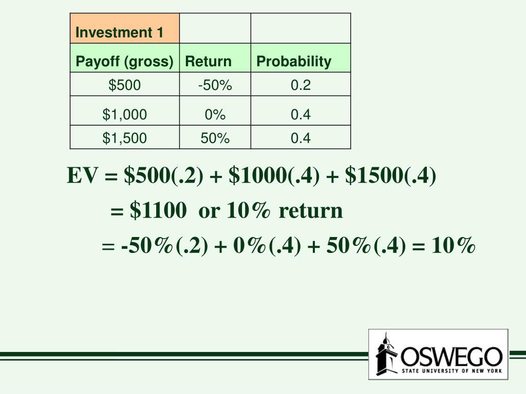 EV = $500(.2) + $1000(.4) + $1500(.4)