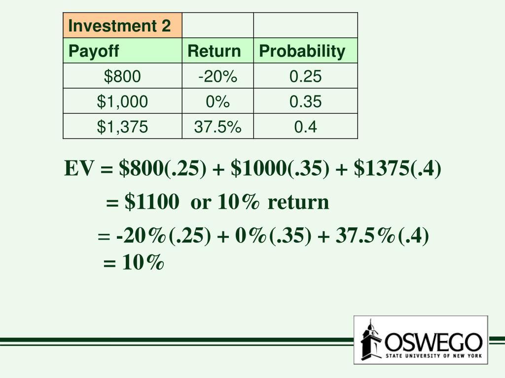 EV = $800(.25) + $1000(.35) + $1375(.4)