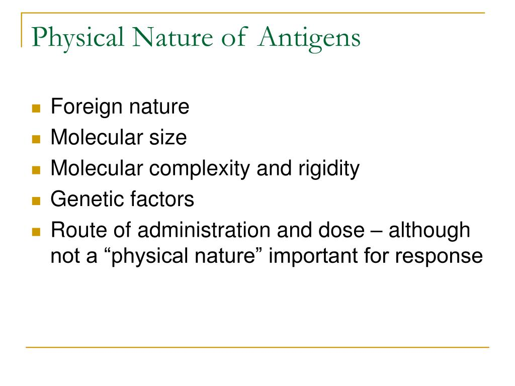 Physical Nature of Antigens