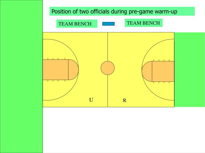 Position of two officials during pre-game warm-up