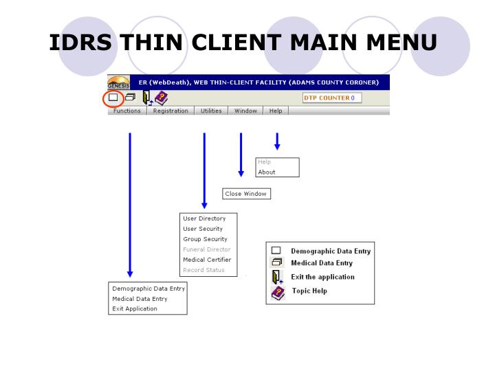 Idrs thin client main menu