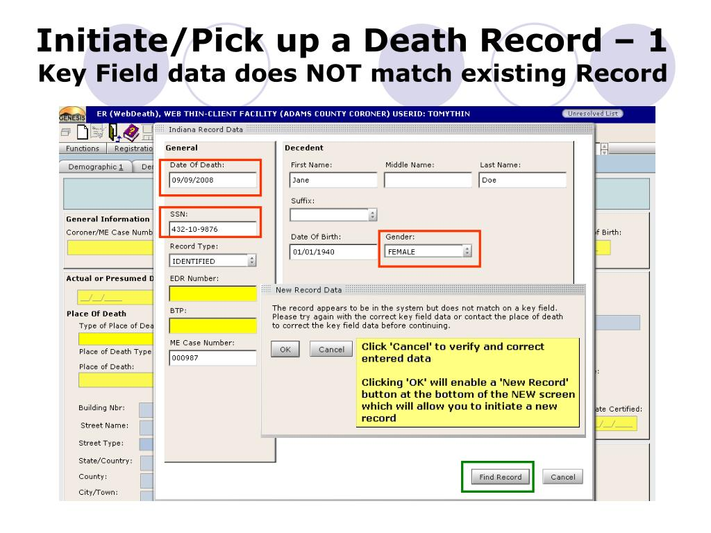 Initiate/Pick up a Death Record – 1