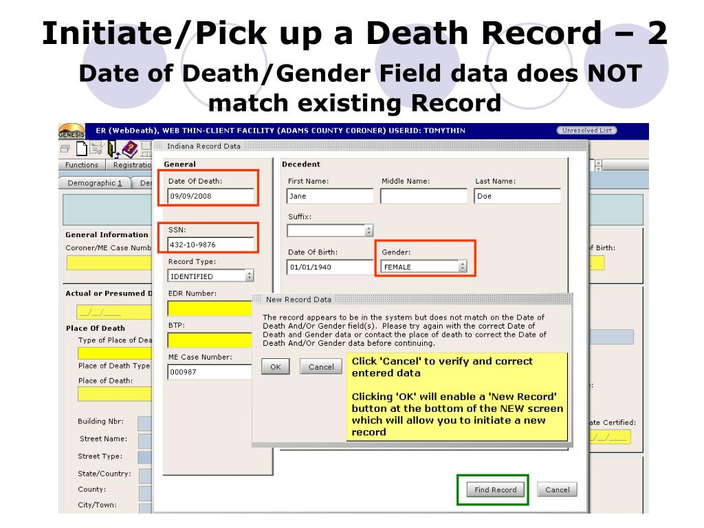 Initiate/Pick up a Death Record – 2