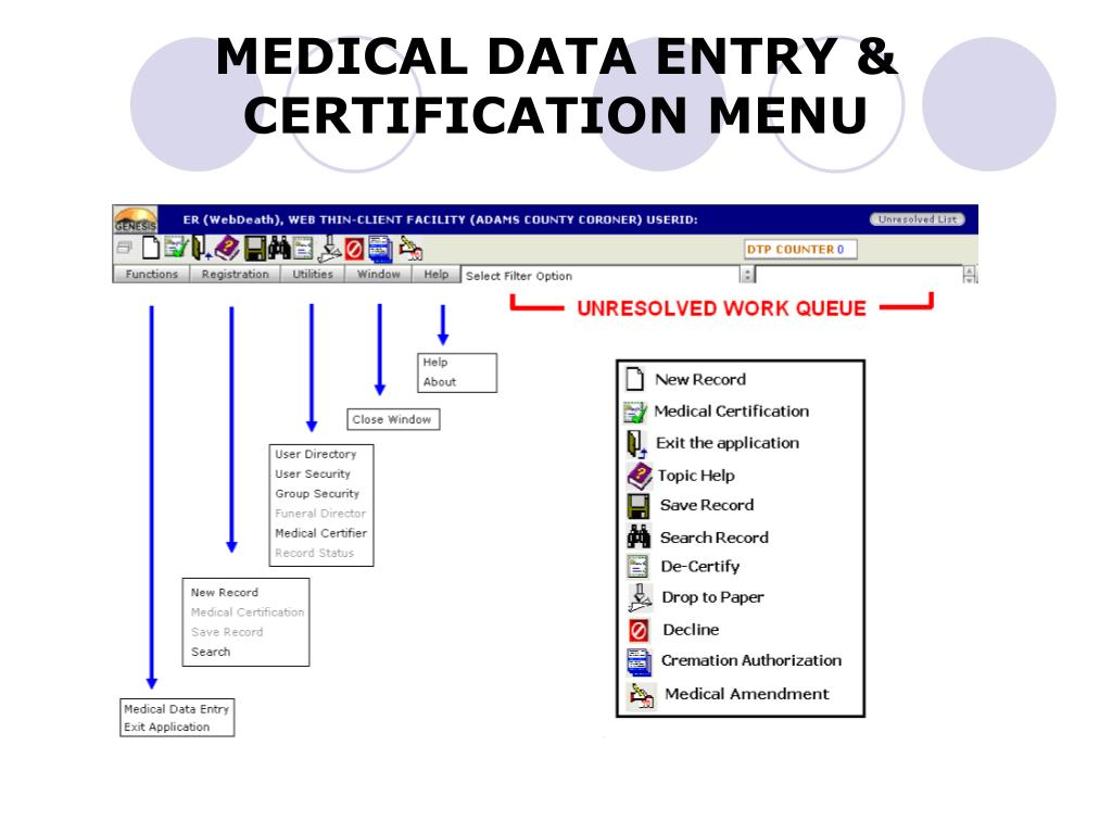 MEDICAL DATA ENTRY & CERTIFICATION MENU
