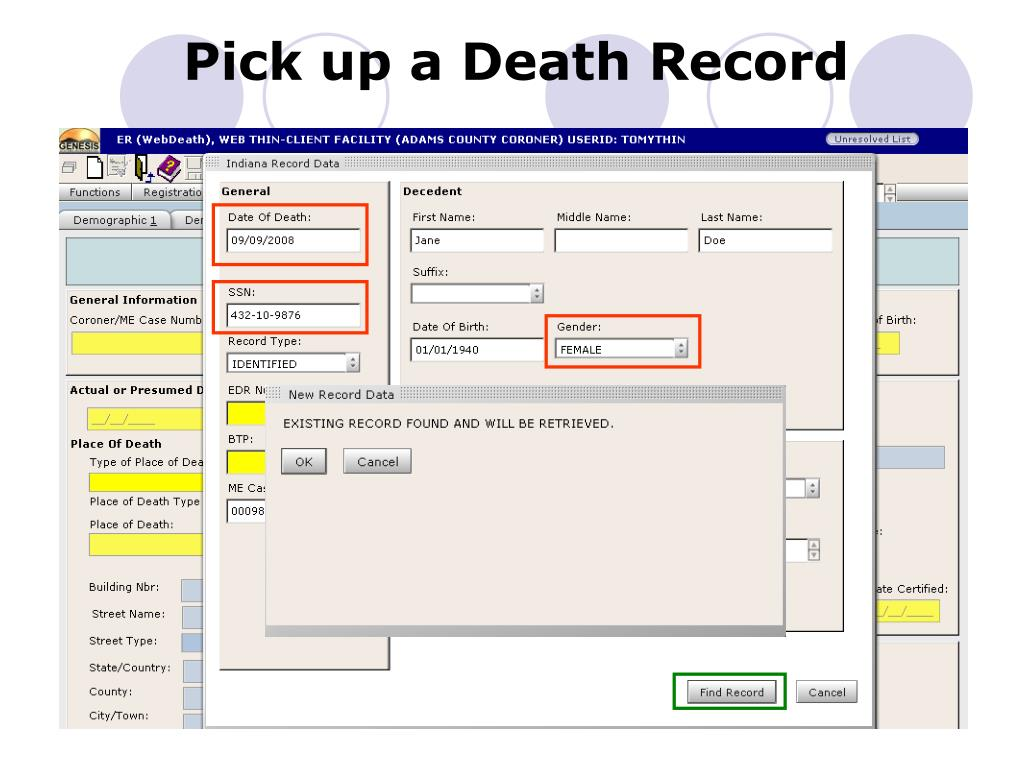 Pick up a Death Record