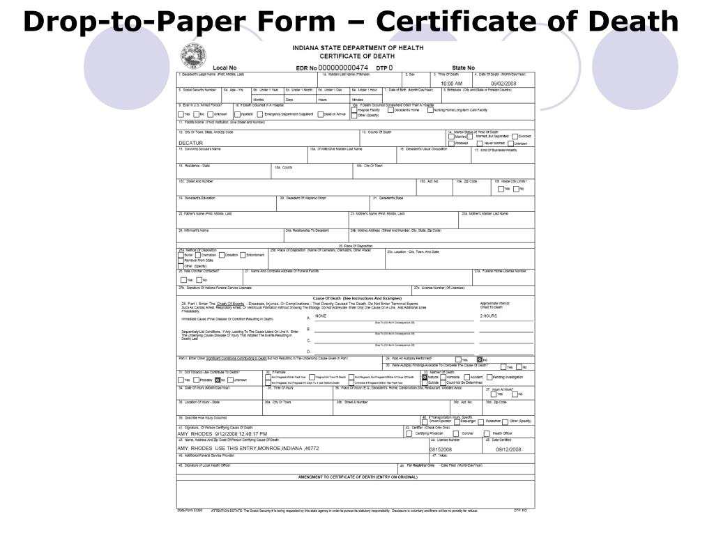 Drop-to-Paper Form – Certificate of Death