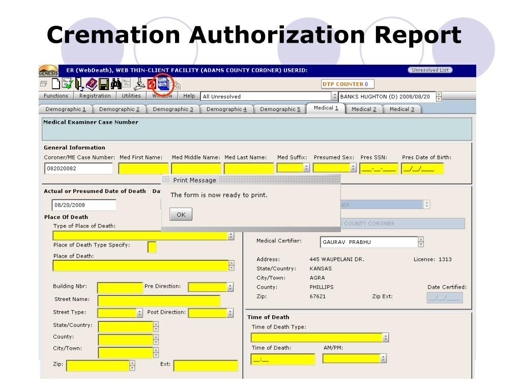 Cremation Authorization Report