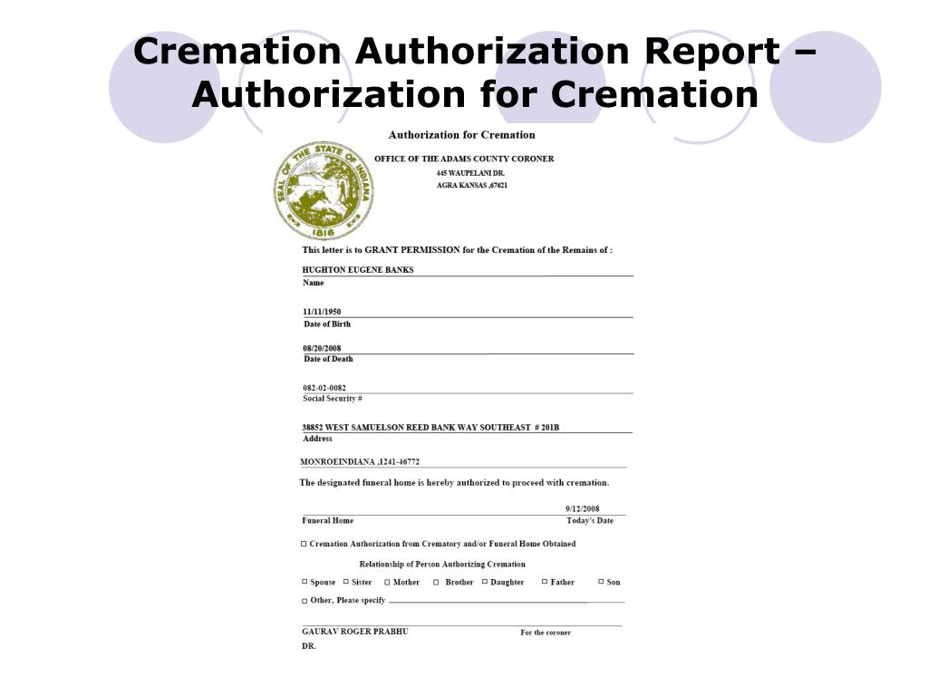 Cremation Authorization Report – Authorization for Cremation