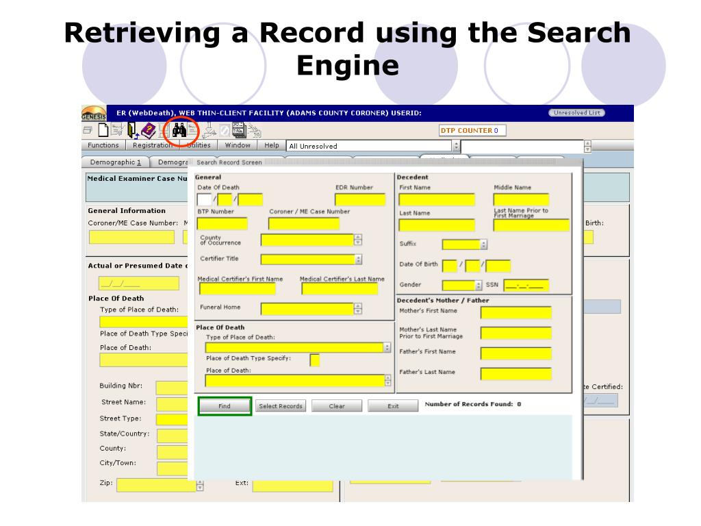 Retrieving a Record using the Search Engine