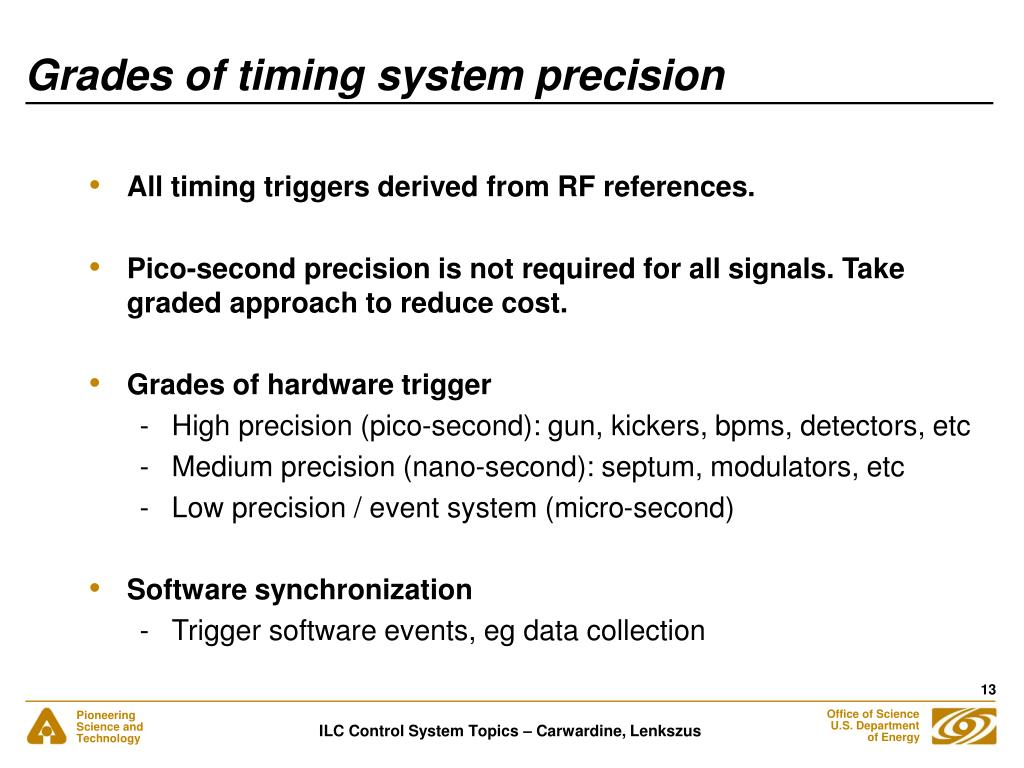 Grades of timing system precision