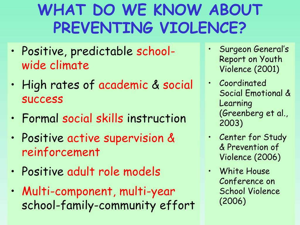 WHAT DO WE KNOW ABOUT PREVENTING VIOLENCE?