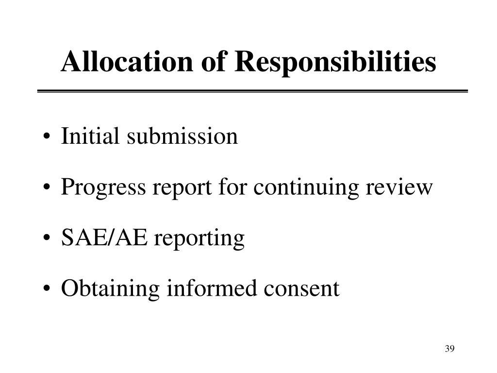 Allocation of Responsibilities
