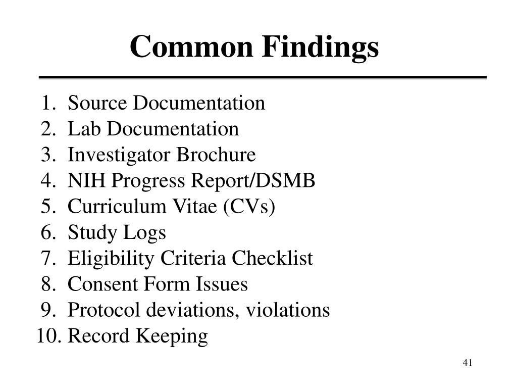 Common Findings