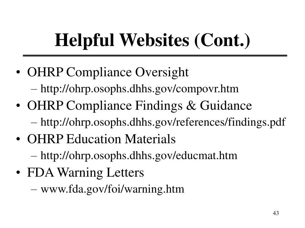 Helpful Websites (Cont.)