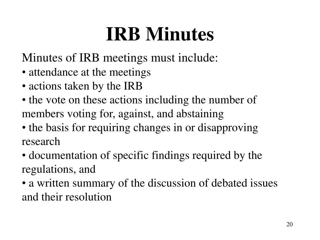 IRB Minutes