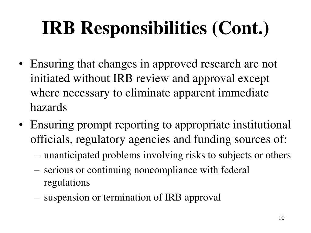 IRB Responsibilities (Cont.)