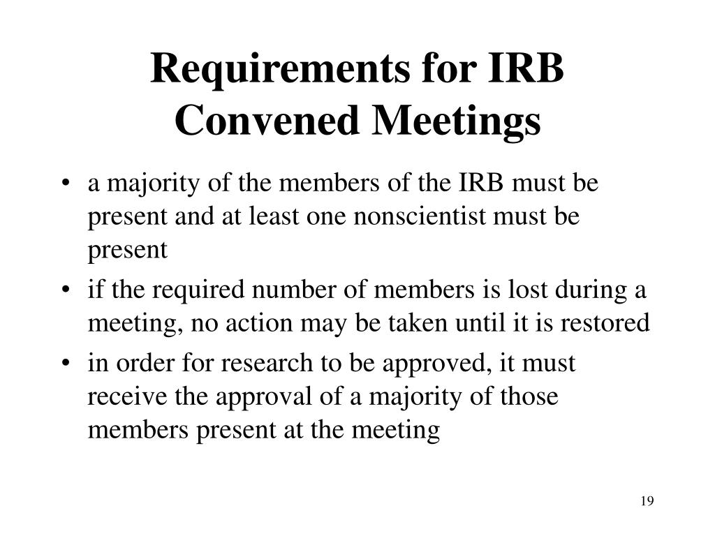 Requirements for IRB Convened Meetings
