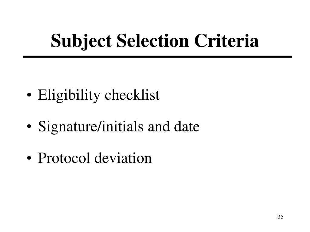 Subject Selection Criteria