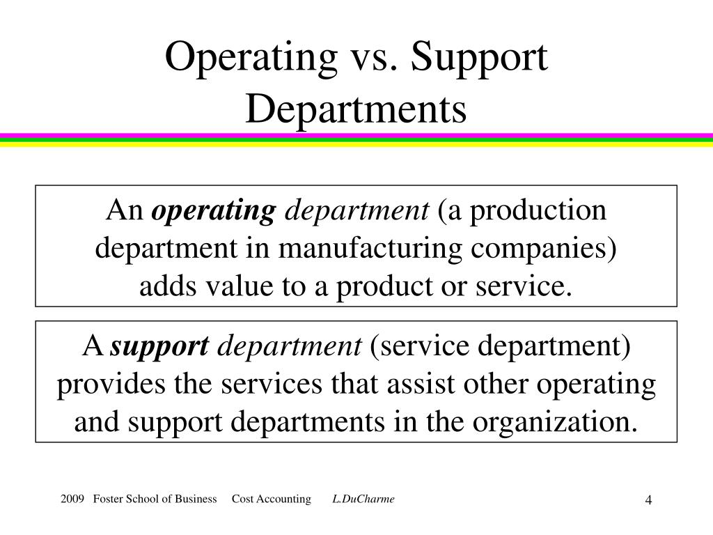Operating vs. Support Departments