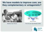 we have models to improve care are they complementary or antagonistic