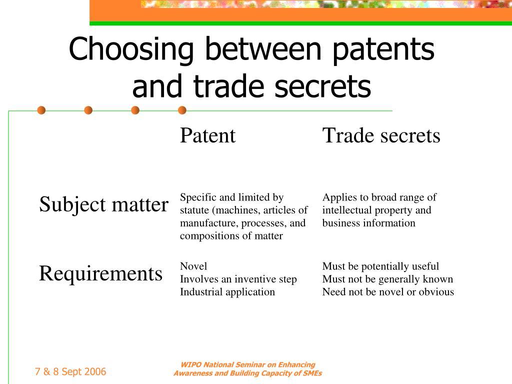 Choosing between patents and trade secrets