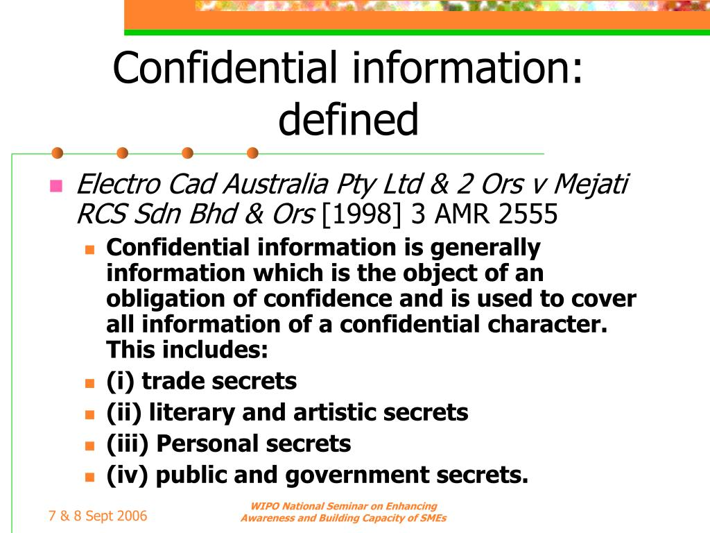Confidential information: defined
