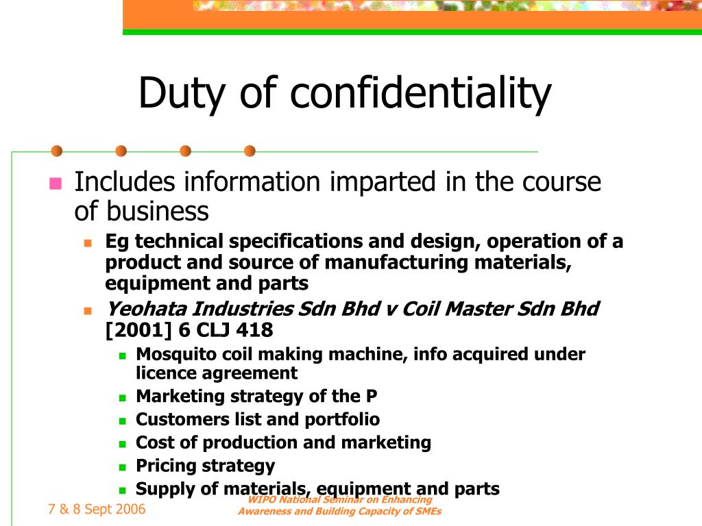 Duty of confidentiality