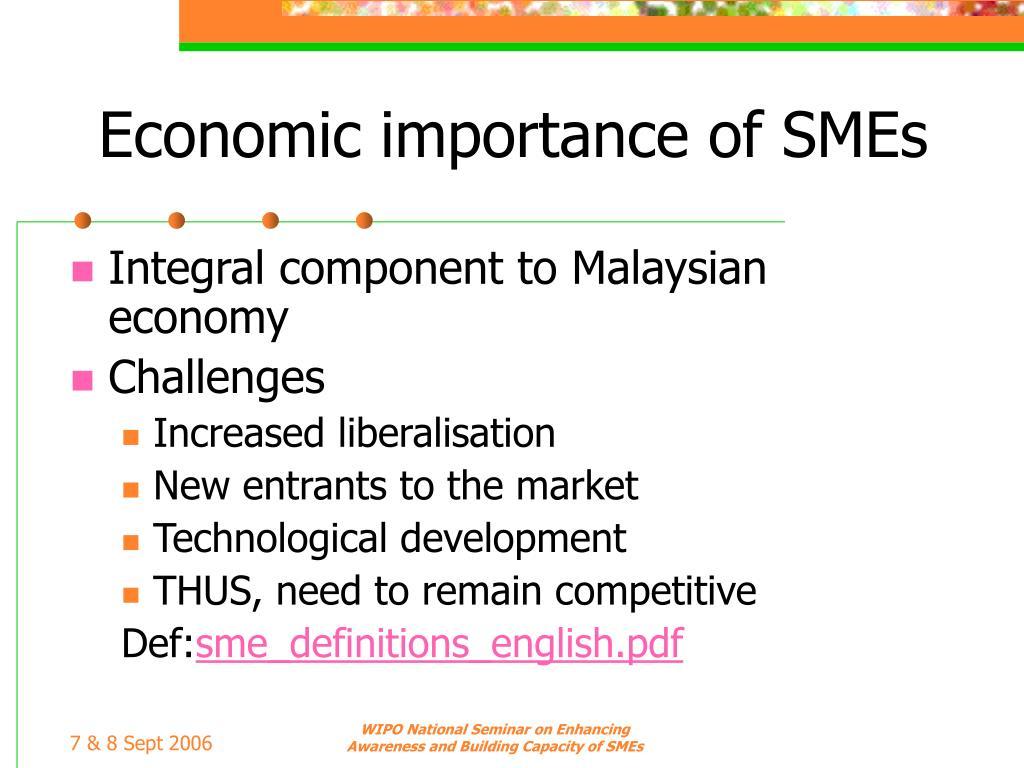 Economic importance of SMEs