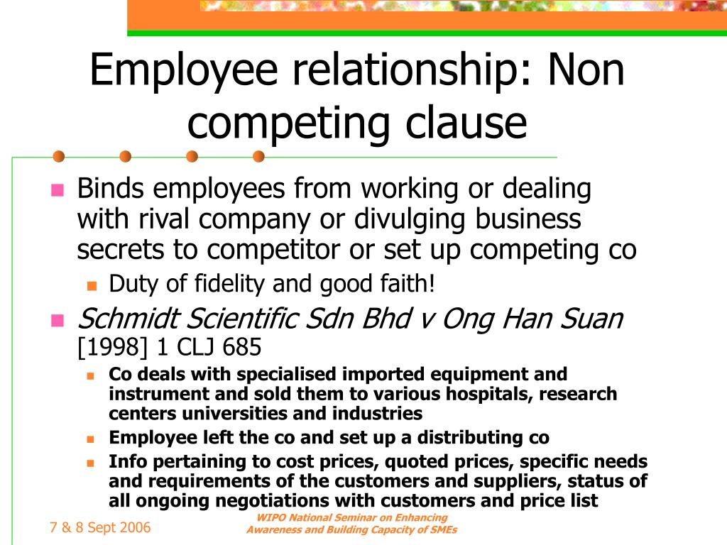Employee relationship: Non competing clause