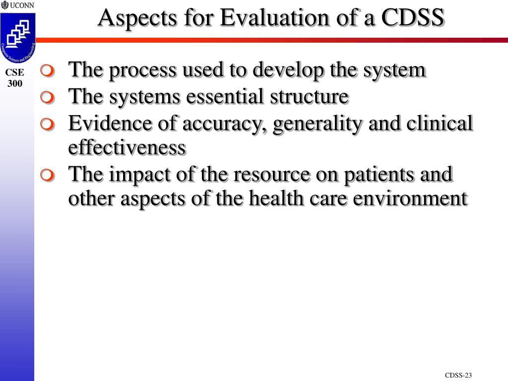 Aspects for Evaluation of a CDSS