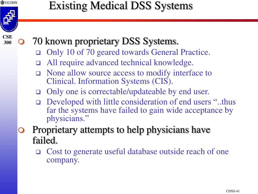 Existing Medical DSS Systems