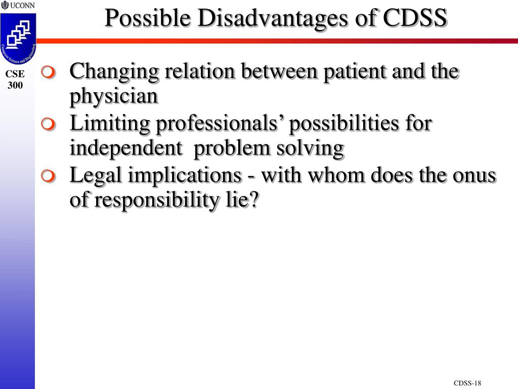 Possible Disadvantages of CDSS