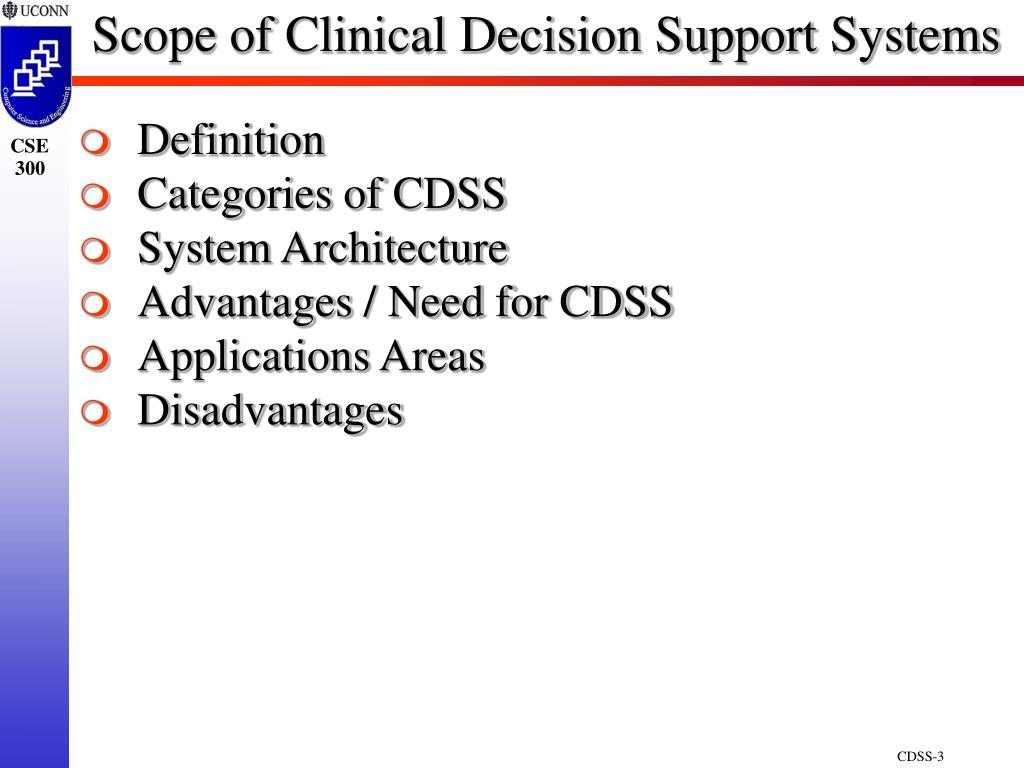 Scope of Clinical Decision Support Systems