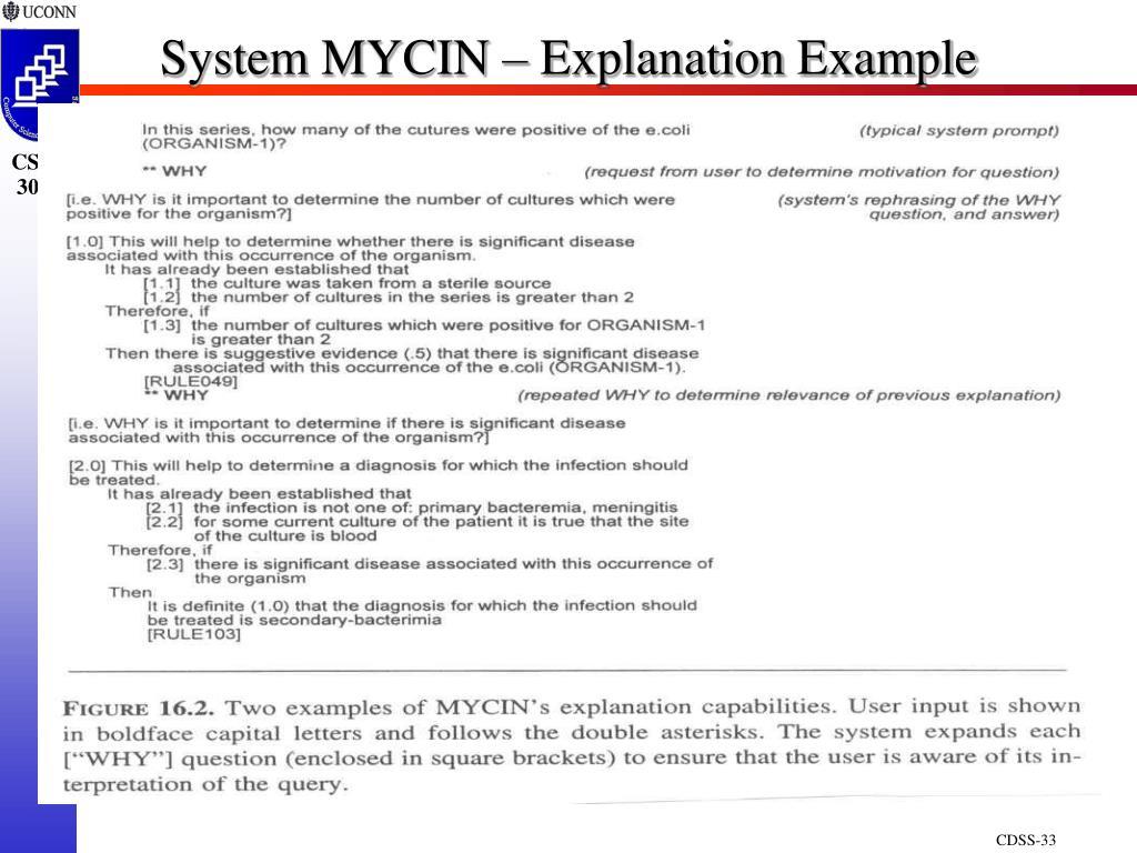 System MYCIN – Explanation Example