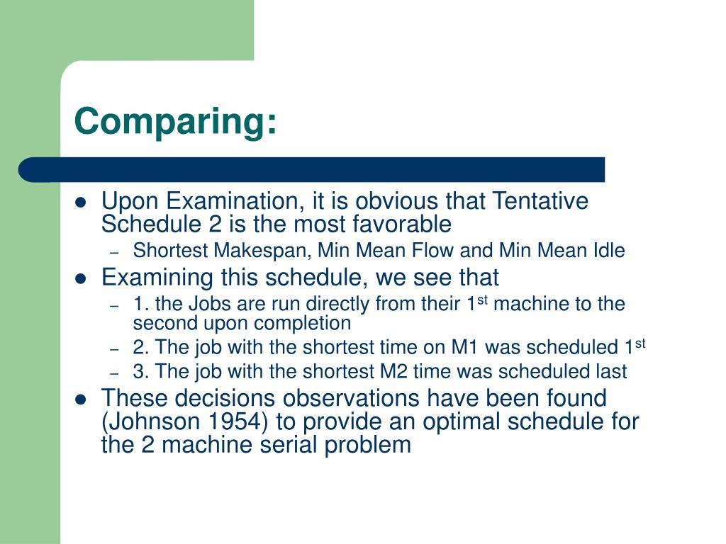 Comparing: