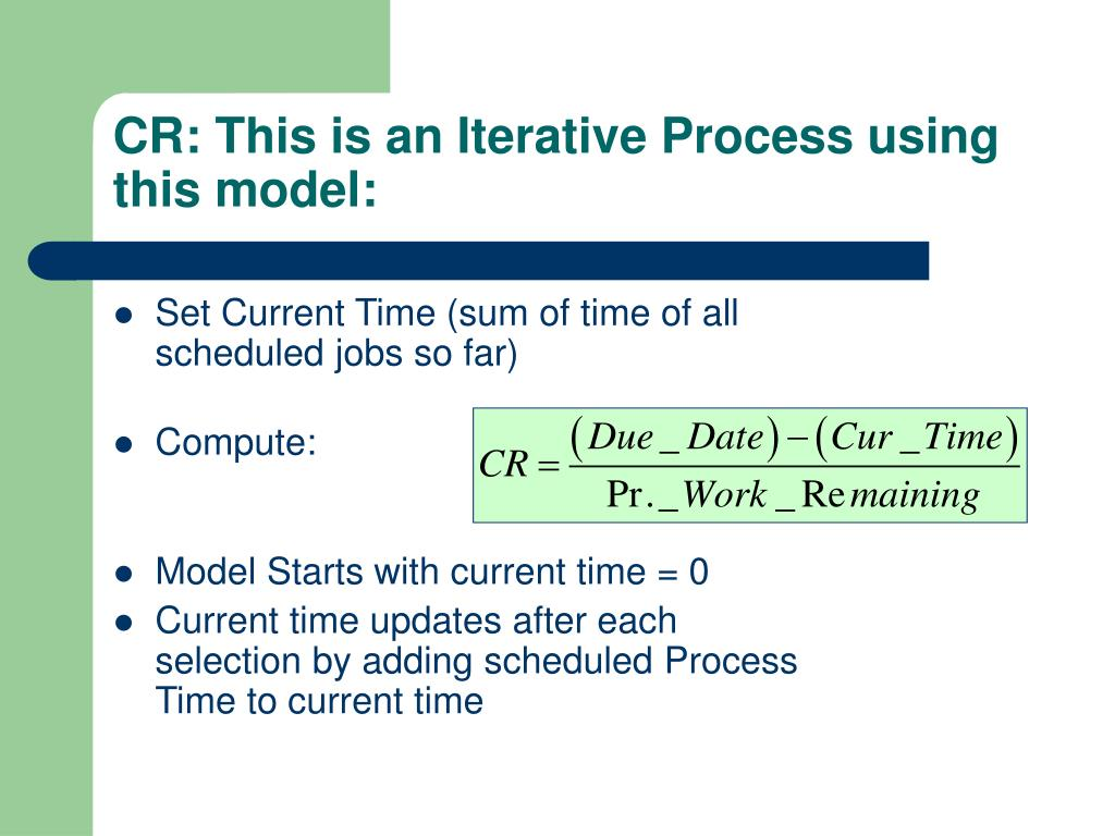 CR: This is an Iterative Process using this model: