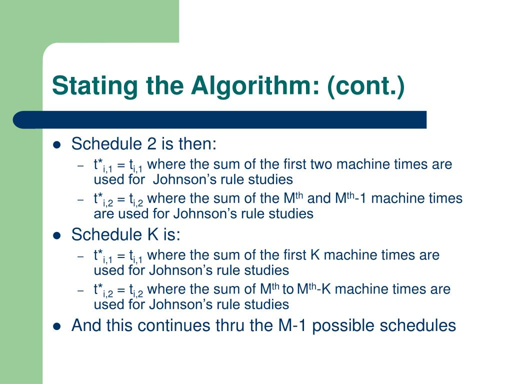Stating the Algorithm: (cont.)