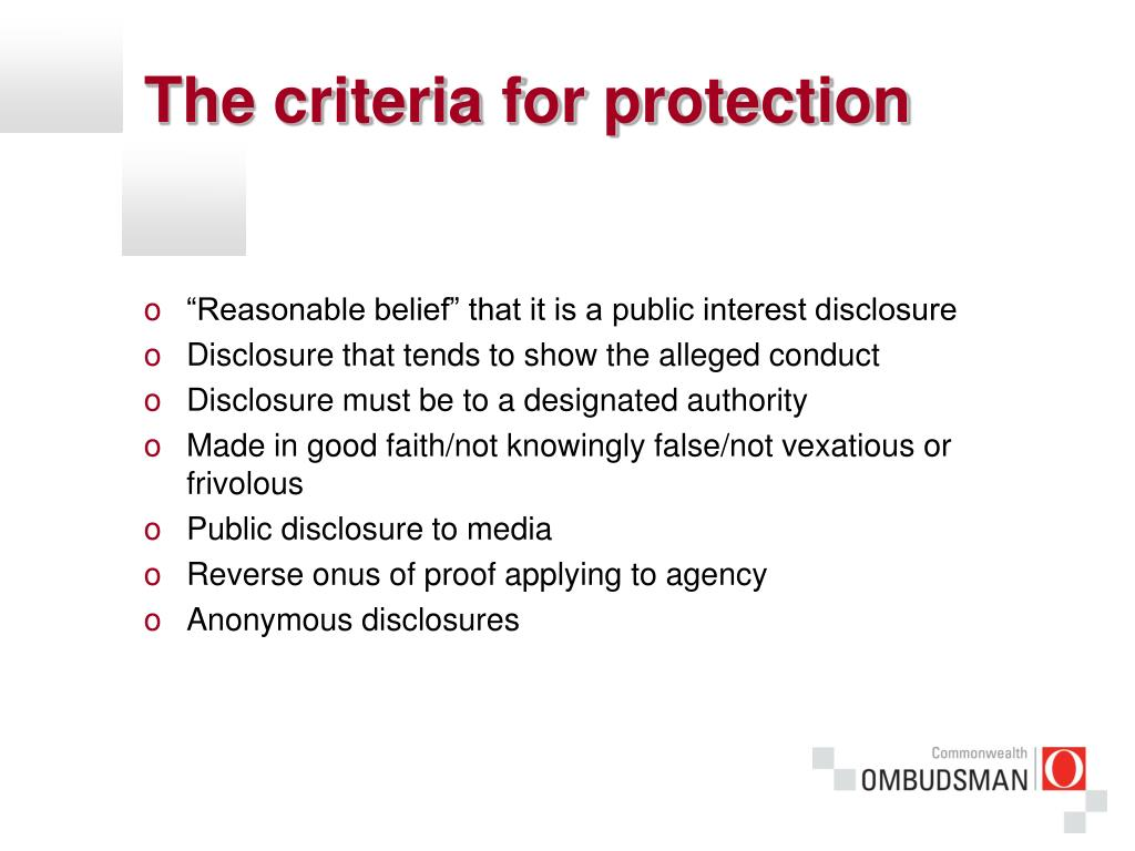 The criteria for protection