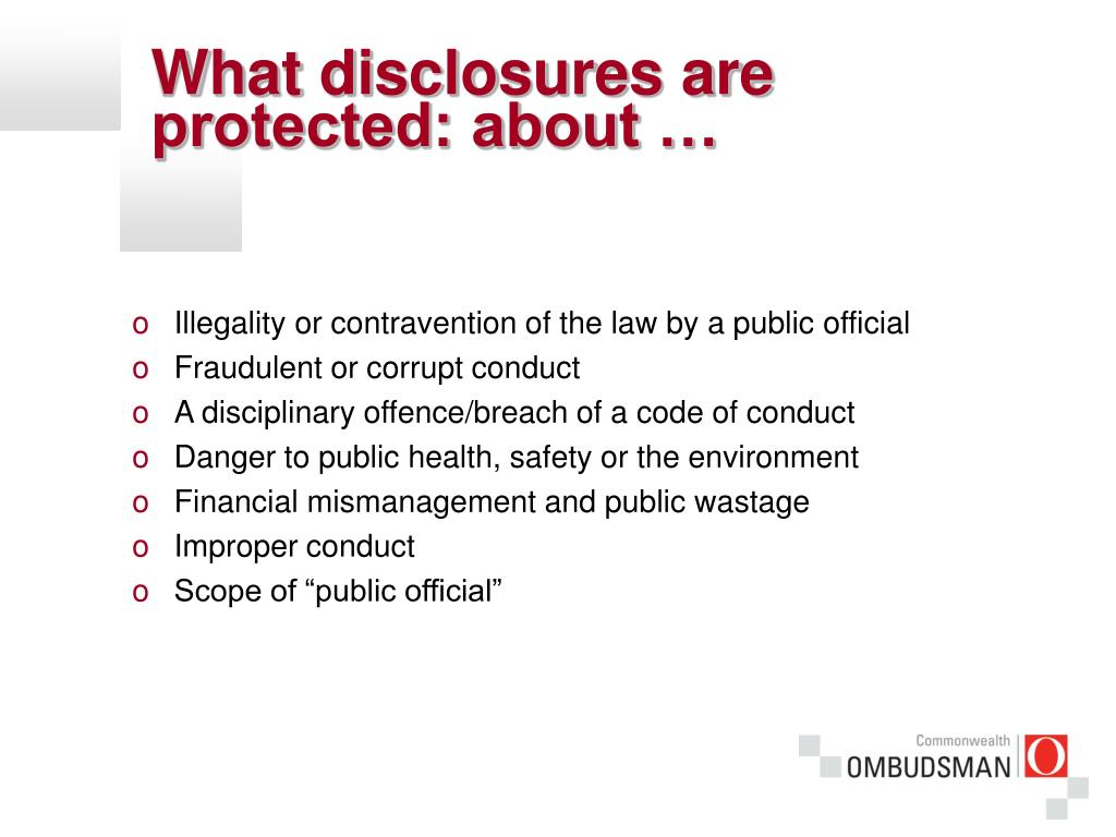 What disclosures are protected: about …