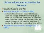undue influence exercised by the borrower