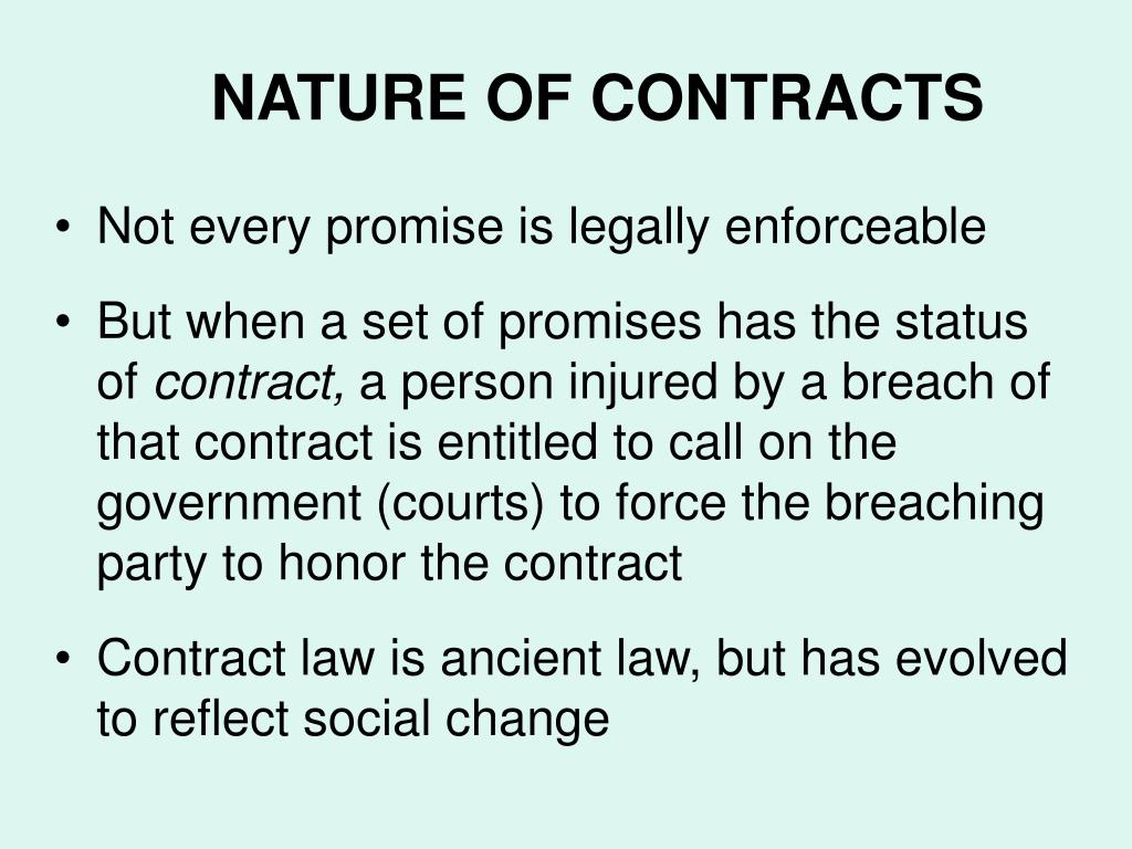 NATURE OF CONTRACTS