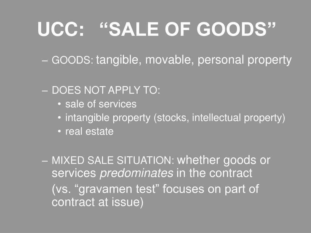 "UCC: ""SALE OF GOODS"""