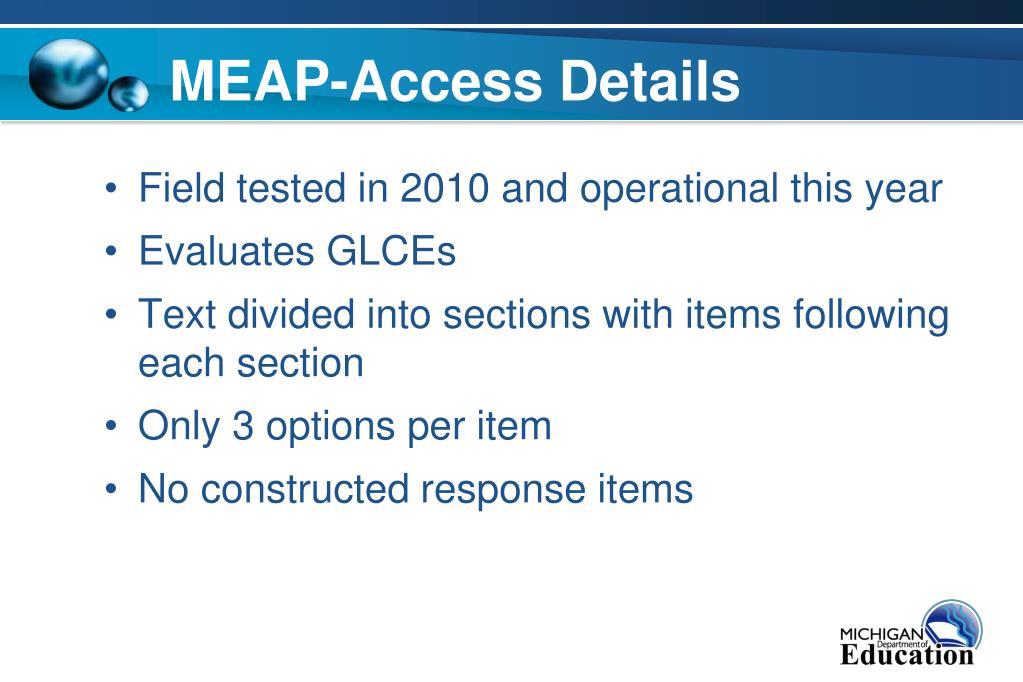 MEAP-Access Details